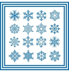 Blue snowflakes collection vector image