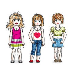 cute happy little girls posing wearing casual vector image vector image