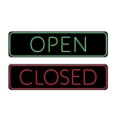Open and Closed door neon Sign vector image