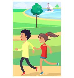 boy and girl jog at park along path near pond vector image