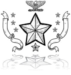 doodle us military insignia army vector image