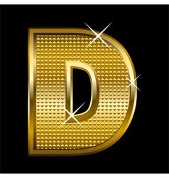 Golden font type letter D vector image vector image