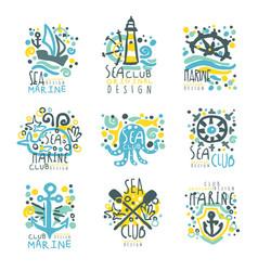 marine club set for label design journey summer vector image