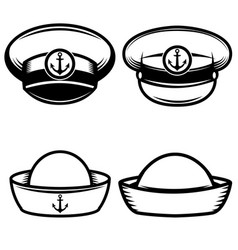 set of the sailors hat design elements for logo vector image vector image