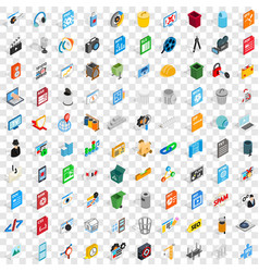 100 pc icons set isometric 3d style vector image