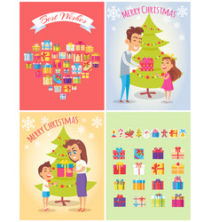 best wishes on christmas set vector image vector image