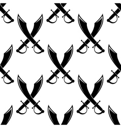 Crossed swords or cutlass seamless pattern vector image vector image