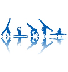 dancing kids silhouettes and reflection over white vector image