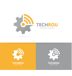 Gear and wifi logo combination mechanic vector