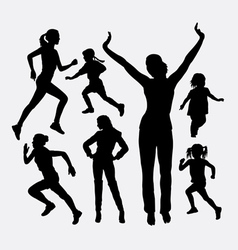 Girl and kid activity silhouette vector