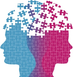 Man woman faces mind thought problem puzzle vector image vector image