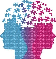 Man woman faces mind thought problem puzzle vector image