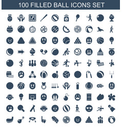 100 ball icons vector