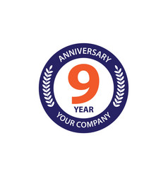 9 year anniversary template design vector image