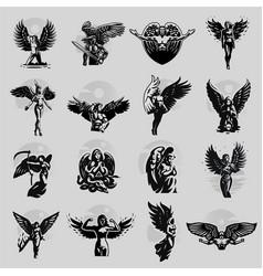 A set angels man and woman vector