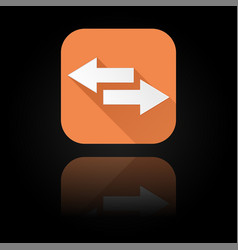arrows icon orange sign with reflection on black vector image