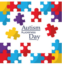 autism awareness poster with puzzle pieces vector image