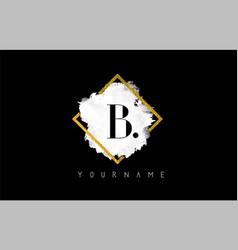 b letter logo design with white stroke and golden vector image