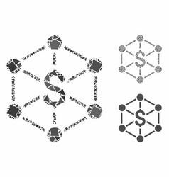 bank network mosaic icon raggy parts vector image
