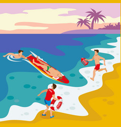 Beach lifeguards isometric poster vector