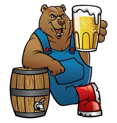 bear cartoon lean on the beer barrel vector image