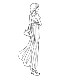 Beautiful girl in long elegant dress vector