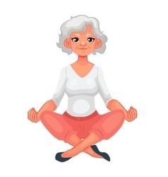 Beautiful senior woman in various poses of yoga vector