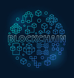 Blockchain round blue in thin vector