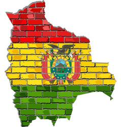 Bolivia map on a brick wall vector