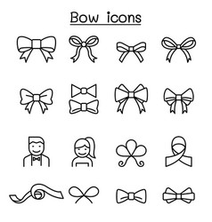 bow ribbon icon set in thin line style vector image