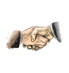 business people shaking hands finishing up vector image
