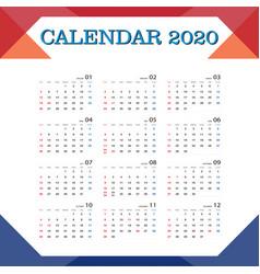 Calendar 2020 vector