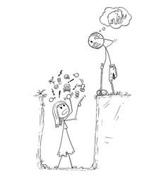 cartoon of prehistoric man or caveman who catch vector image