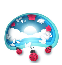 cartoon paper landscape ladybug vector image