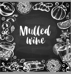 Chalk drawing background with mulled wine and vector