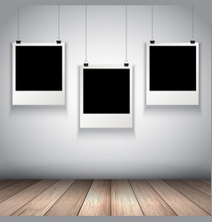 collection of hanging blank photos vector image