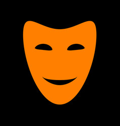 comedy theatrical masks orange icon on black vector image