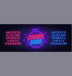 Coming soon neon sign with clock red and blue vector