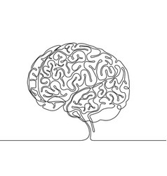 Continuous line drawing a human brain vector