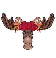contour colorful a moose head with vector image