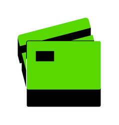 Credit card sign green 3d icon with black vector