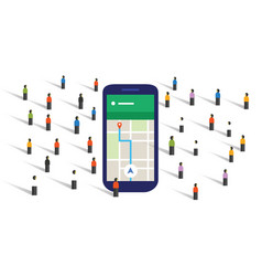 crowd navigation map screen big smart-phone mobile vector image