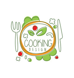 Culinary logo original design with top view dinner vector