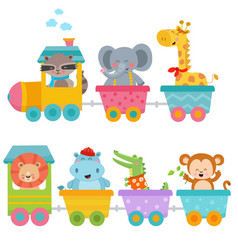Cute animals on train vector