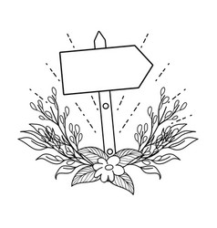 Cute arrow guide wooden with flowers vector