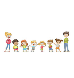 Cute children standing in a row and wave funny vector