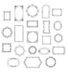 Doodle line frames set vector