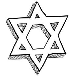 doodle star of david vector image
