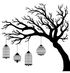 Drawing of the tree with cages vector