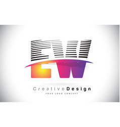 Ew e w letter logo design with creative lines and vector